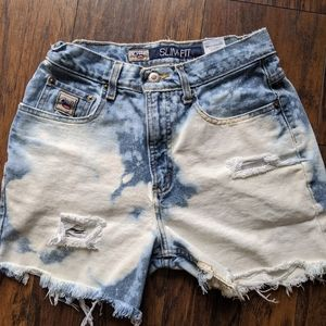 Vintage high-rise denim cutoff shorts bleached